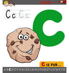 Letter c with cartoon cookie sweet vector