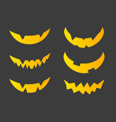 set of halloween scary smiles for pumpkins vector image