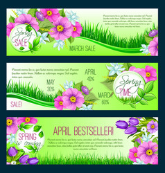 spring floral banners vector image vector image