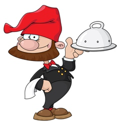 waiter gnome with tray vector image vector image