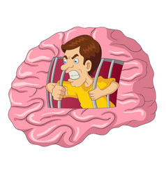 cartoon of a man breaking free from brain vector image vector image