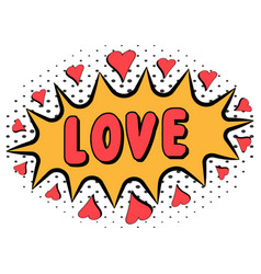 comic book word love with heart pop art style vector image vector image