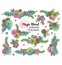 flower set with hand drawn succulents vector image vector image