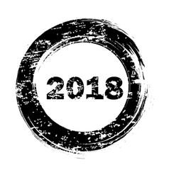 happy new year black round grunge stamp on white vector image