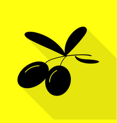 olives sign black icon with flat vector image vector image