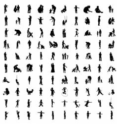 one hundred silhouettes of parents vector image vector image
