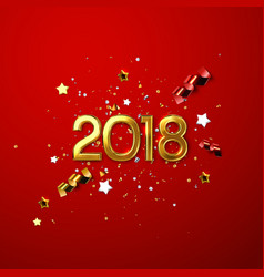 realistic 2018 golden numbers on white background vector image