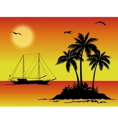 Sea Landscape with Palms and Ship Silhouettes vector image vector image