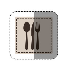 sticker monochrome square with cutlery vector image vector image