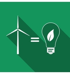Wind turbine and bulb with leaves as idea of eco vector image vector image