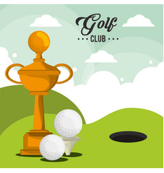 golf club trophy balls and field hole vector image vector image