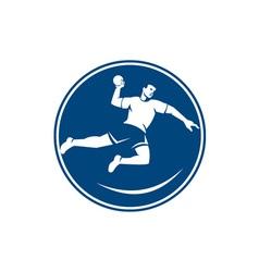 Handball player jumping throwing ball icon vector