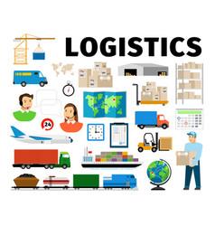logistics elements isolated on white vector image