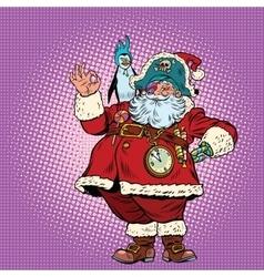 Santa Claus pirate and penguin okay gesture vector image