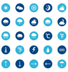 set of weather icons on color background vector image vector image