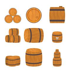 set of wooden barrels vector image