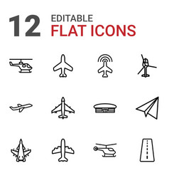 12 aviation icons vector