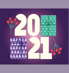 2021 happy new year gift boxes and holly berry vector image
