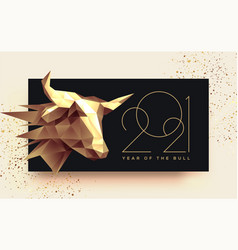2021 new year banner with golden low poly head vector image