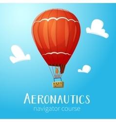 Aeronautics hot air balloon flying in blue sky vector