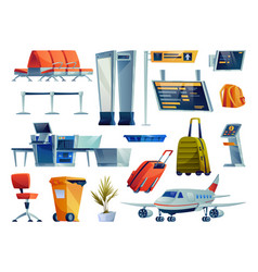 airport icons set plane and luggage check board vector image