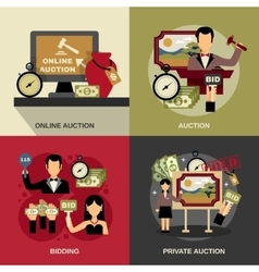 Auction Concept Icons Set vector