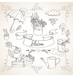 Autumn doodles card vector