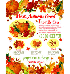 Autumn lovely fall time wishes poster vector