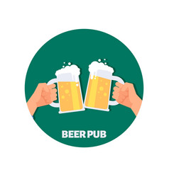 Beer pub icon design two hands holding vector
