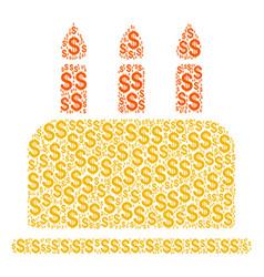 birthday cake collage of dollar vector image
