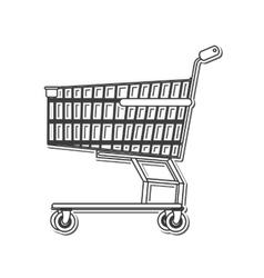 black line shopping cart icon vector image