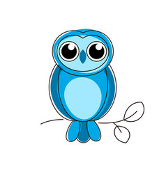blue owl line logo on white background vector image