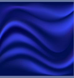 Blue satin wavy background smooth soft fabric vector