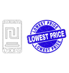 Blue scratched lowest price stamp seal and web vector