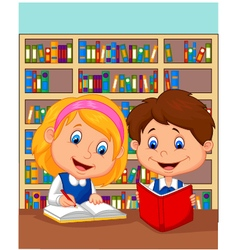 Boy and girl study together vector