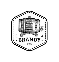 Brandy logo cognac sign with wooden barrel vector