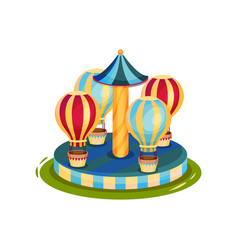 carousel with air balloons merry-go-round for vector image