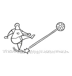 Cartoon soccer player man shooting ball on pitch vector