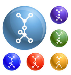 chemical molecule icons set vector image