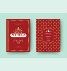 christmas greeting card vintage typographic design vector image