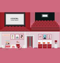 Cinema movie theatre with purchase ticket vector