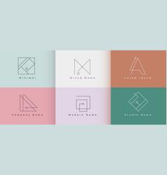 Clean minimal logo design set six vector