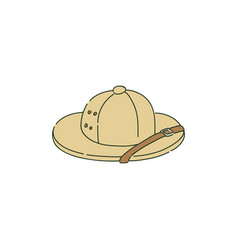 Colonial pith helmet or safari hat in sketch style vector