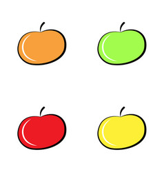 colorful apple icon set isolated on white vector image