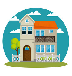Colorful cottage flat residential houses vector
