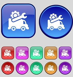 Computer repairs icon sign A set of twelve vintage vector