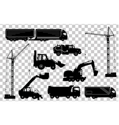 Construction equipment trucks excavator vector