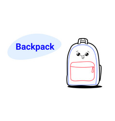 cute backpack cartoon comic character with smiling vector image