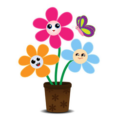 Cute cartoon flowers on a flower pot vector