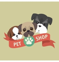 cute doggys pet shop symbol ribbon vector image